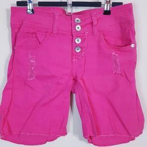 Dollhouse | Pink denim distressed button shorts